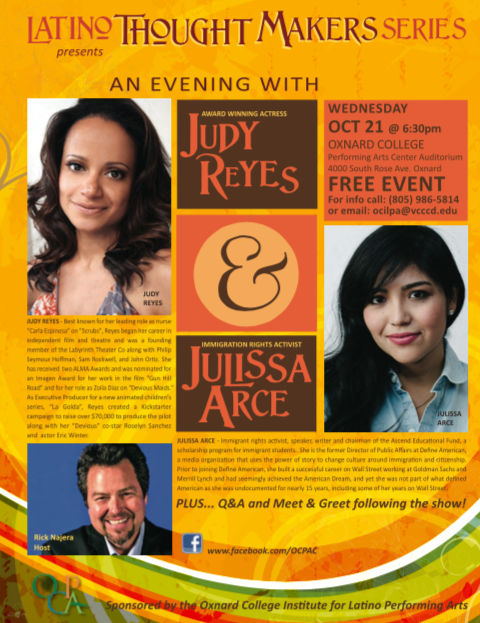 Rick Najera hosts Latino Thought Makers Wed Oct 21 with guests Judy Reyes and Julissa Arce