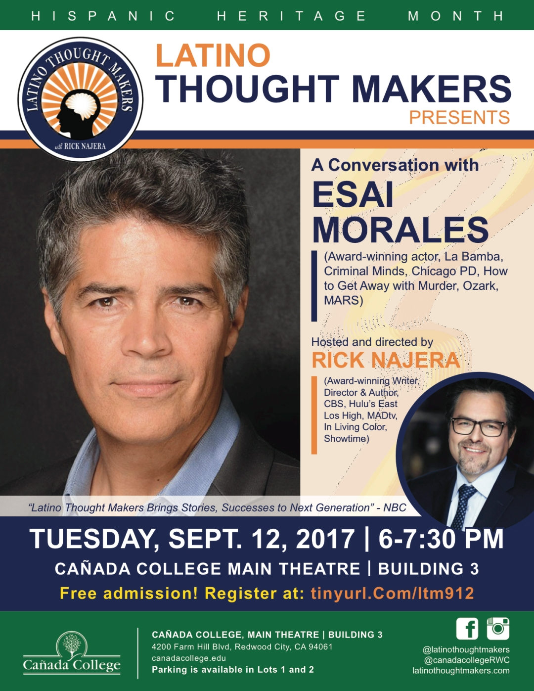 LatinoThought Makers Rick Najera Esai Morales @ Cañada College